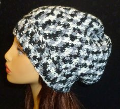 Crochet Slouch Hat,  Reversible Slouchy Beanie, Stripe Slouchy, Slouch Hat, Winter Fashion - Black Grey and White by berly731 on Etsy