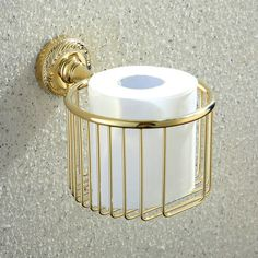 Modern Contemporary Golden Brass Toilet Roll Holder ($47) ❤ liked on Polyvore featuring home, home improvement, plumbing, bathroom accessories and toilet roll holders