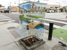 Anamorphic paint on electric cabin by Mona Caron In San Francisco, USA