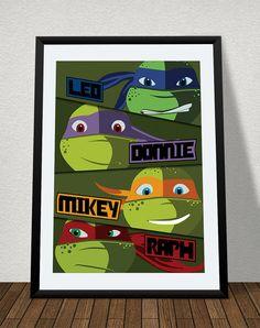 Teenage Mutant Ninja Turtles Poster Print   TMNT Cartoon Vector Art   Man  Cave   Comic