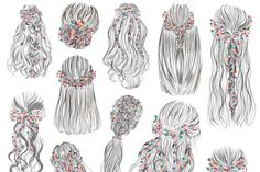 Floral wreath hairsyles vector set ~ Illustrations ~ Creative Market How to Have the Bride Cool Art Drawings, Pencil Art Drawings, Art Drawings Sketches, Hair Reference, Art Reference Poses, Creative Market, Tout Rose, Hair Sketch, Anime Hair