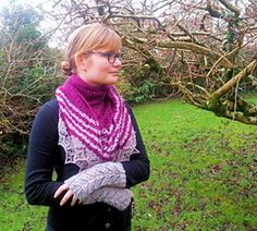 This beautiful fingerless mittens and shawl is the perfect matching winter accessory set. Beads add a touch of glamour. The shawl has an intricate lace panel running down the centre which adds shoulder shaping and helps the shawl sit nicely on the shoulder. This lace is repeated on the fingerless mittens.