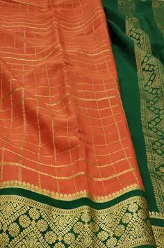 Orange  Handloom Mysore Crepe Silk Checks Saree  contact us on www.luxurionworld.com +91 22 22810169 +91 7738869115 OR +91 7710801701                                                      #orange #checks #mysore #crepe #silksaree #fashion #traditionalsaree #designersarees #handloom #occasionwear #onlineshopping #luxurionworld