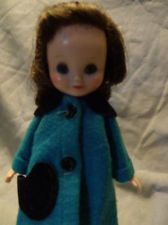 """Vintage American Character 8"""" Brunette Betsy McCall Doll + Turquoise Coat +Shoes...wow, i still have my doll and coat like this.  my betsy has this same hair colour too!."""