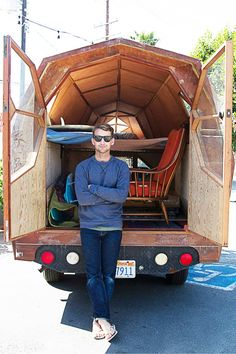I'd be all over this. (The portable house, not the guy.) This is the way to camp people. Or better! A road trip house :D
