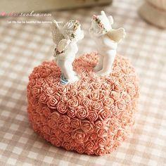 Aibei-resin ангел коробка для ювелирных изделий симпатичные розы в форме сердца розовый ящик для хранения коробки свадебные подарки украшения A26-004-SSH