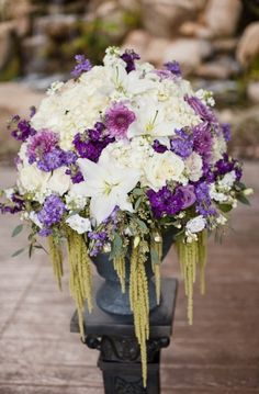 Purple  This is perfect for the center pieces , with crystals rather than greenery if you prefer. PERFECT!