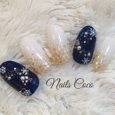 ネイル ネイル in 2020 Xmas Nails, Holiday Nails, Christmas Nails, Colorful Nail Designs, Beautiful Nail Designs, Nail Art Designs, Winter Nail Art, Winter Nails, Cute Nails