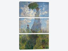 """Woman with a Parasol Madame Monet and Her Son 1875 by Claude Monet Canvas Print 40"""" L x 60"""" H x 0.75"""" D"""