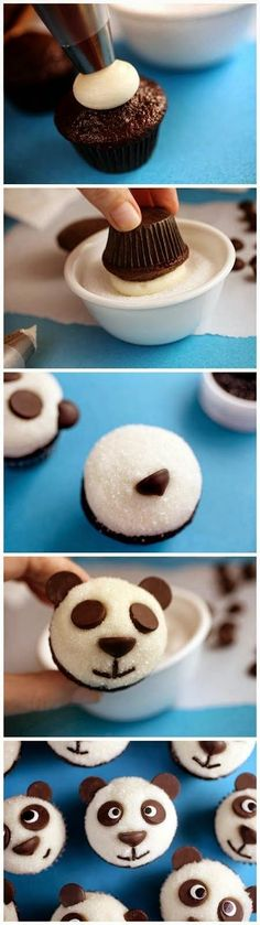 Easy Little Panda Cupcakes. These little chocolate cupcakes are so cute. Chocolate chips are used to dress them up as sweet little pandas. Perfect cupcakes for the chocolate lover! Easy little pandas. Panda Cupcakes, Oreo Cupcakes, Cupcake Cakes, Cup Cakes, Birthday Cupcakes, Mini Cupcakes, Animal Cupcakes, Velvet Cupcakes, Cupcakes Kids