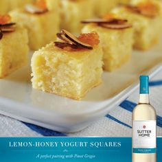 Pair these sweet and tart Lemon-Honey Yogurt Squares with Sutter Home Pinot Grigio for a perfect summer treat.