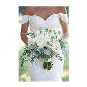 Bouquet de mariée méli-mélo de fleurs blanches