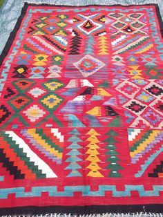 7 ft x 5 ft Big bright rug/kilim/carpet from the East by BlueTeddy, $140.00