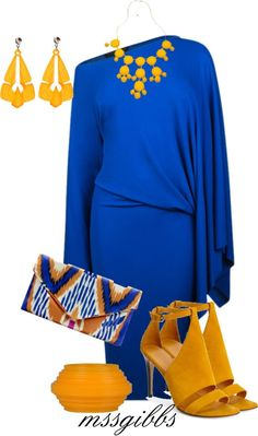Bright blue dress with yellow highlights. This outfit would go best with Celine Sunglasses http://www.visiondirect.com.au/designer-sunglasses/Celine/Celine-CL-41432/S-PD9/70-341205.html