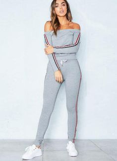 Chicloth Women Tracksuit Striped Print Off Shoulder Long Sleeve 2 Piece Set  Sportswear e6834dc24