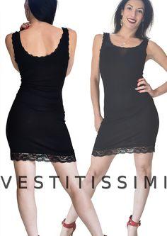 5b9e09faf9eb Top miniabito donna vestitino abito canotta jersey fondo pizzo floreale sexy  Vs6