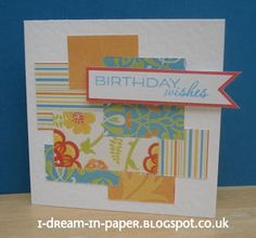 abstract birthday card made from paper scraps
