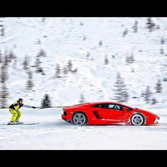 Skiing anyone? Lamborghini Aventador winter sports