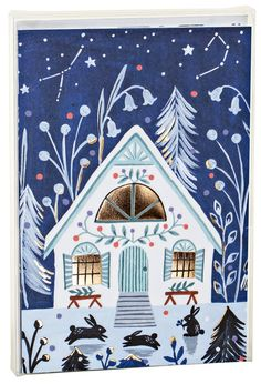 Happiness In Living Alone Revealed In 65 Illustrations By Korean Artist - Cozy Winter Cabin, Big Notecard Set night scene with flowers and golden foil windows - Illustration Nocturne, Night Illustration, Christmas Illustration, Winter Pictures, Christmas Pictures, Christmas Art, Xmas, Winter Cabin, Winter Art
