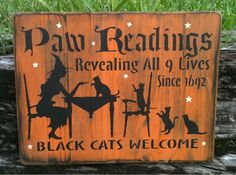 Paw Readings Black Cats Sign OOAK by MoonlightPrimitives
