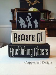 Disney haunted mansion hitchhiking ghost halloween decor stacking wood blocks distressed custom