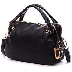 Hobo Handbag,YOUNA Vintage Pu Leather Hobo Handbag For Women BlackAPPARELIQUE