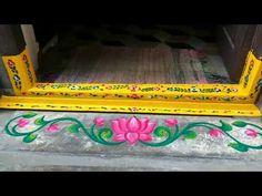 How to Decorate Gadapa Muggu Design Rangoli Side Designs, Simple Rangoli Border Designs, Rangoli Designs Latest, Rangoli Patterns, Free Hand Rangoli Design, Small Rangoli Design, Rangoli Ideas, Rangoli Designs Diwali, Rangoli Designs With Dots
