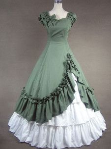 Unique, Elegant Designer Green and White Sweetheart Cotton Victorian Dress for Full Selection of gothic victorian lolita dresses, Tailor Made, Fast Shipping. Buy Green and White Sweetheart Cotton Victorian Dress Now! 1800s Dresses, Indian Gowns Dresses, Old Dresses, Pretty Dresses, Vintage Dresses, Beautiful Dresses, Vintage Outfits, Ladies Dresses, Gothic Victorian Dresses