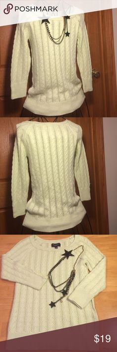 American Eagle Cable Knit Top This adorable knit sweater top is a mint color. Has 3/4 sleeves with 3 buttons on each sleeve and a scooped neckline. Preloved in good condition  American Eagle Outfitters Sweaters Crew & Scoop Necks