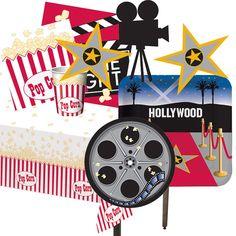 Menaje y decoracion para una fiesta cine, de blog.fiestafacil.com / Tableware and decorations for a Hollywood party, via blog.fiestafacil.com