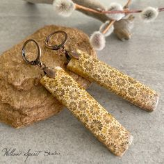 Coral Earrings, Stone Earrings, Stone Jewelry, Organic Packaging, African Home Decor, Coral Stone, Fossil, Natural Stones, Etsy Seller