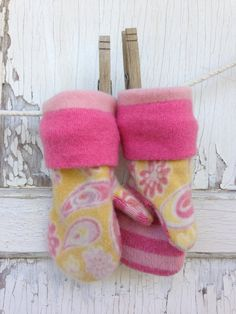 Cashmere Wool Mittens-Upcycled Yellow and Pink by whimsiedots