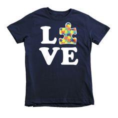 Love Autism - Autism shirt for kids Short sleeve kids t-shirt