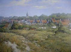 Noorderstreek, zicht op dorp 80 x 100 cm