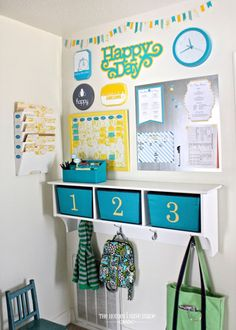 Rental Decorating Solutions Organizing Space ForRent.com - Making a Family Command Station allows you to make a home for all those things that like to clutter your floor and counters such as bags, coats, key and mail.