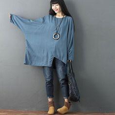 Irregular Linen Rayon Long Sleeves Pocket Loose Women Blue Shirt