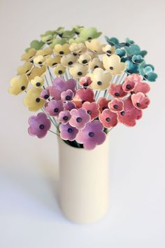 Colorful Bouquet Set of 11 Flowers Anemone Ceramic by TzadSheni