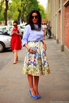 floral skirt chambray blouse and those shoes