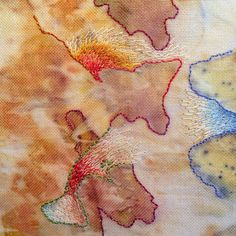 Free embroidery on ecoprinted cotton by Mirjam Gielen