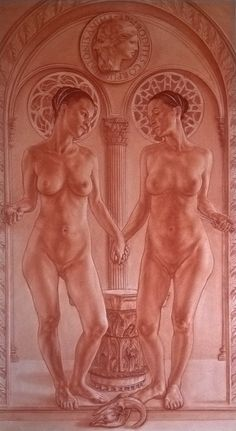 """""""The two Ipazie: Plato's mind and the body of aphrodite"""" sanguine on on white paper pressed on panel cm 100x180"""