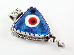 Translucent Blue Evil Eye Triangular Glass Pendant by LylaSupplies, $4.50