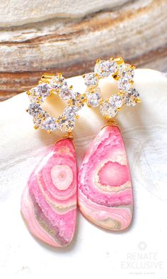 """Suzanne"" Rhodochrosite earrings is part our SPRING/SUMMER 2016 jewelry collection! Rhodochrosite Wing Shaped 29x15mm, Approximate Weight: 40.55 Carat - Large 16mm shiny gold plated brass, CZ flower e"