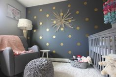 Polka Dot Bedrooms: Navy Background for Polka Dots. Love this subtle change with the dark background.