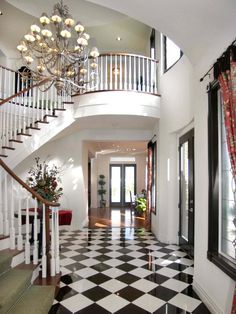 Checkered Tile Foyer : Carina Homes : Entryways And Halls : Pro Galleries : HGTV Remodels