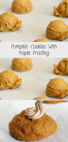 Pumpkin Cookies With Maple Frosting - Cookie Recipe Ideas Maple Frosting, Cream Cheese Frosting, Pumpkin Cookies, Fun Cookies, Canned Pumpkin, Pumpkin Puree, Chocolate Drop Cookies, Cinnamon Cream Cheeses, Best Cookie Recipes