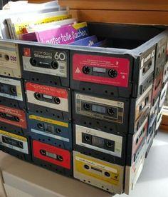 Room Ideas Bedroom, Bedroom Decor, Music Bedroom, Cassette Tape Crafts, Crate Furniture, Furniture Storage, Tape Storage, Storage Crates, Locker Storage