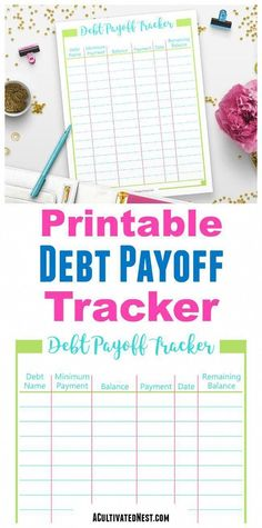 "Keep track of your journey toward a debt free life with this printable debt payoff tracker! This also acts as a wonderful motivational tool as you can watch the ""remaining balance"" numbers get smaller and smaller! Dave Ramsey, Date, Pay Off Mortgage Early, Debt Tracker, Password Tracker, Debt Relief Companies, Paying Off Credit Cards, Budget Binder, Family Budget Planner"