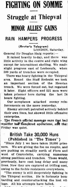 """WW1, The Sun, 1 Oct 1916: """"30,000 German prisoners since July 1"""""""