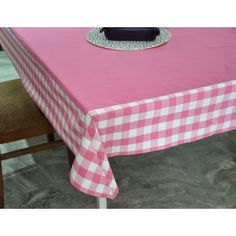 Pink Check border table cover #tablecovers #tablecoversonline