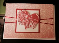 Valentine Card using CTMH I Adore You stamp and My Mind's Eye paper.